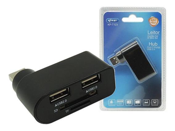 Hub Usb 2 Portas Com Leitor De Cartão Microsd Sd Pc Notebook