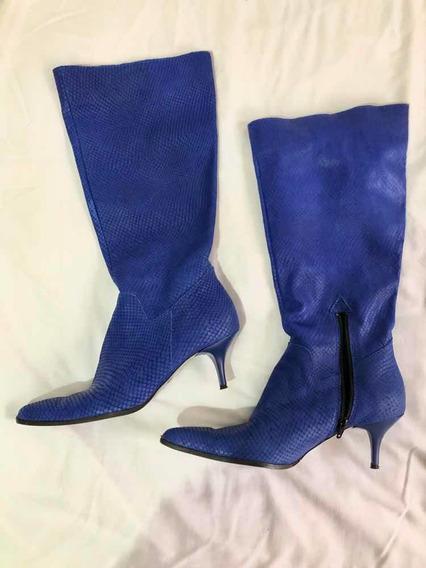 Botas Clona De Cuero Azul Talle 39 En Perfecto Estado!