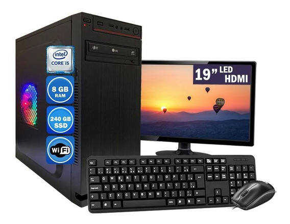 Computador Pc Completo Intel Core I5 8gb Ssd 120gb Wi-fi
