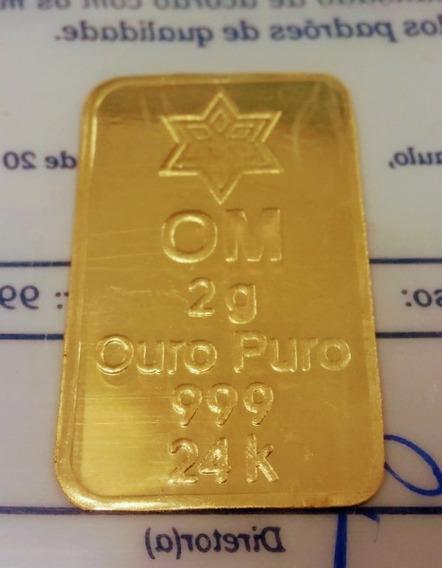 Barra De Ouro 24k 2 Gramas Certificado Ouro Minas