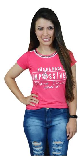 Tshirt Camiseta Frases Evangelica Pedraria Jesus Fé Amor