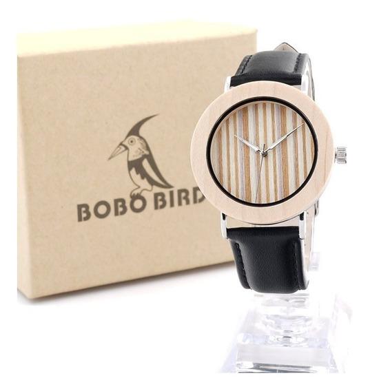 Relógio Feminino Bambu Madeira Anal. Bobo Bird E22