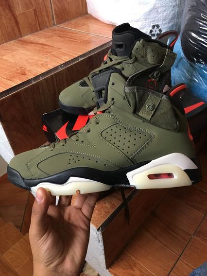 Tenis Air Jordan Retro 6 Travis Scott Cactus Jack Sneakers