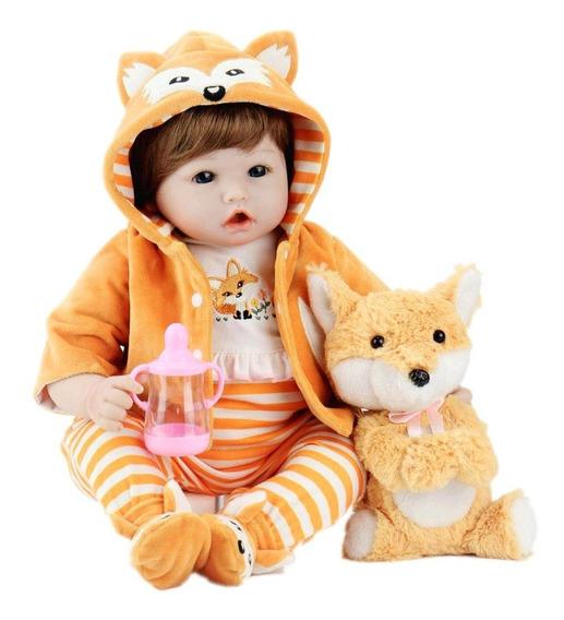 Bebes Reborn Muñeco Zorrito Niño Hermoso Mameluco Naranja