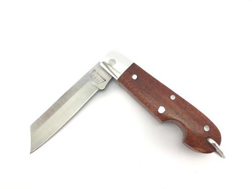Canivete Zebu Barretos 601 Carbono Cabo Madeira Com Bainha