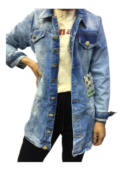 Max Jaqueta Jeans Feminino Rasgado Moda Longer Comprido