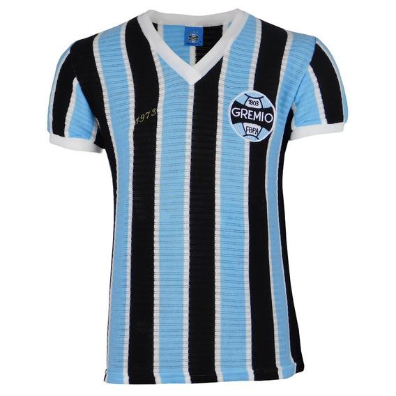 Camisa Do Gremio Retro Tricolor Azul/preto/ Branco 1973 469