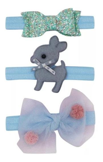 Set De 3 Diademas Para Niñas Bebé Bandas Headwraps Retro