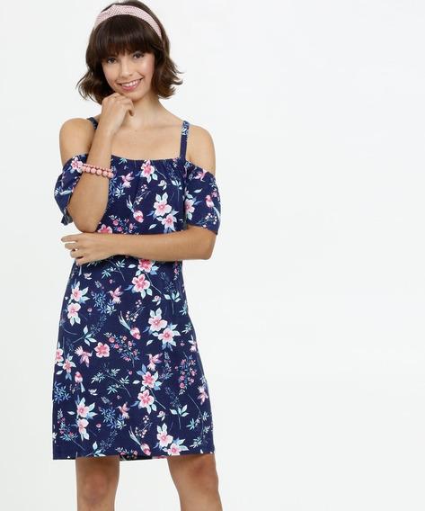 Vestido Feminino Open Shoulder Estampa Floral