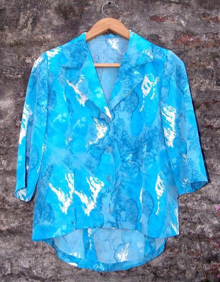 Linda Camisa Vintage Hecha A Medida Verano Gasa L Impecable
