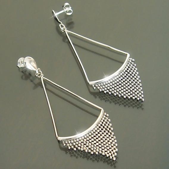 Brinco De Prata 925 Triangular Franja 7cm Grande Feminino