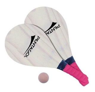Kit 2 Raquetes Frescobol + 1 Bola- Pinus Cru -jogo Treino