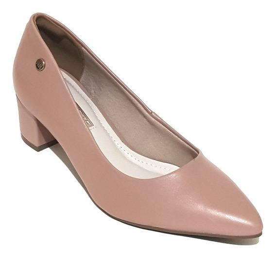 Sapato Feminino Salto Baixo Grosso Via Marte Estilo Scarpin