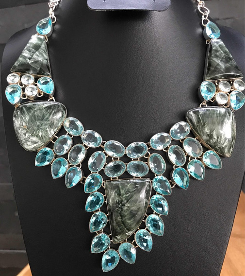 Collar Serpentina & Topacio Azul Plata 925