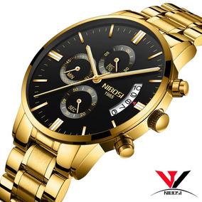 Relógio Nibosi Masculino Dourado, Funcional Frete Grátis