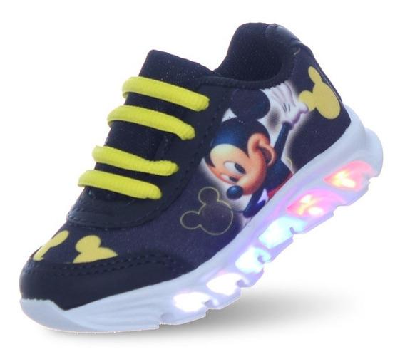 Tenis Mickey Com Led Luz Que Pisca Infantil Masculino Barato
