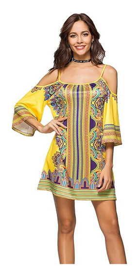 Verano De Moda Floral Impreso Vestido Sin Tirantes Boho Beac