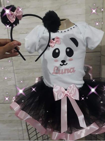 Roupa Ursinho Panda Tutu Body Tiara Pompo Aniversário Panda