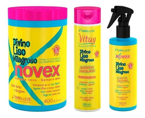 Novex Divino Liso Milagroso  Embelleze (kit/03 Produtos)
