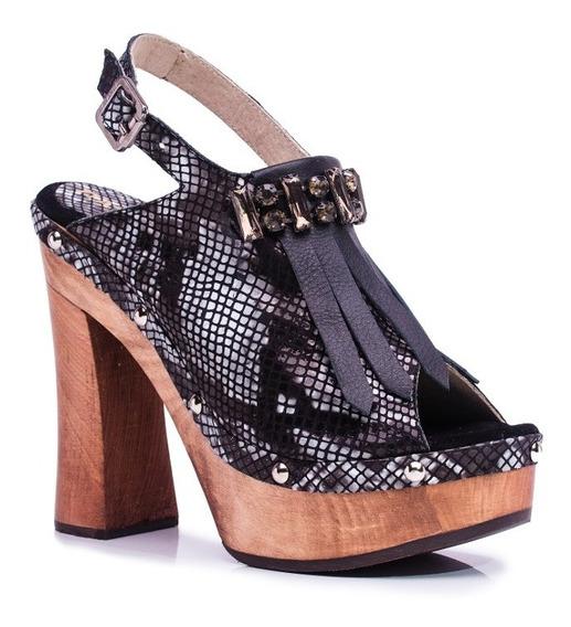 Zapato Mujer Sandalia Alta Natacha Reptil Negro #3992
