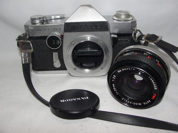 Antiga Camera Ricoh Kingflex Singlex Tls Lente Panagor 28mm