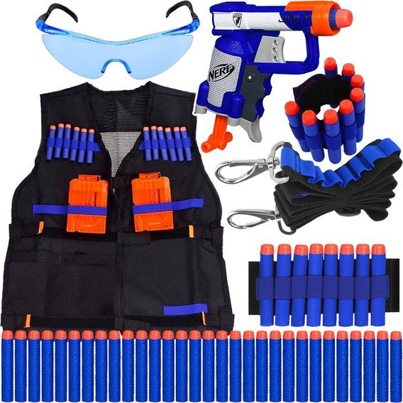 Super Kit Mini Arma Nerf + Colete + Acessórios + 60 Dardos