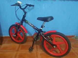 Bicicleta Infantil Aro 16 - Preta E Vermelha (são Paulo Zl)