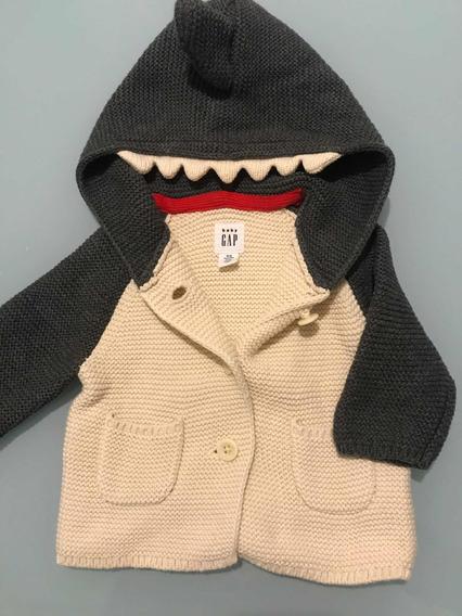 Sweater Baby Gap 0 A 3 Meses Gris Crudo