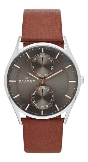 Reloj Caballero Skagen Hoist Skw6086 Color Café De Piel