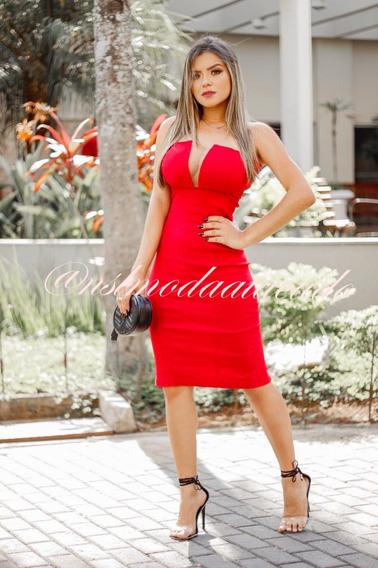 Vestido Feminino Decotado Mid Festa Social Tule Tam Pmg