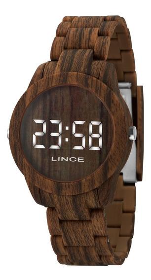 Relógio Lince Feminino Led Branco Madeira/wood Mdp4614p