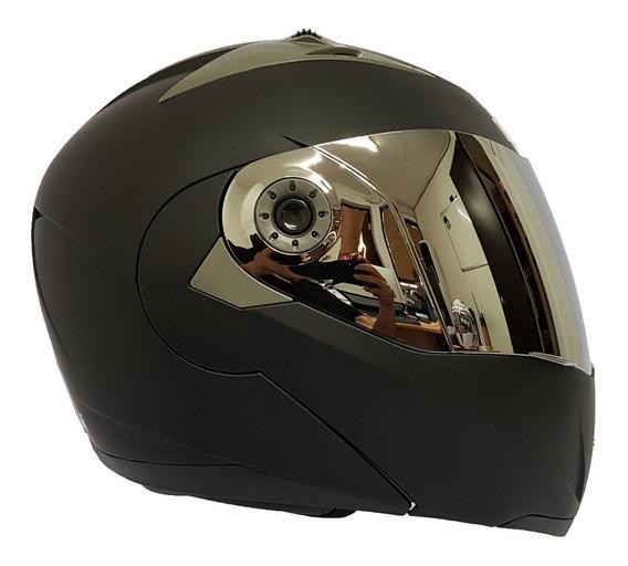Casco Abatible Dot Con Lente Iron Racing Negro Mate 1463