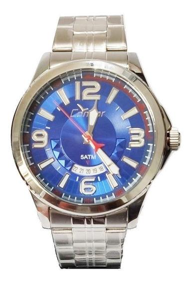 Relógio Condor Masculino Prateado Calendário Co2115wv/3a