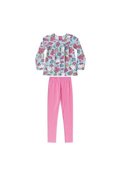 Pijama Infantil Hello Kitty Manga Longa