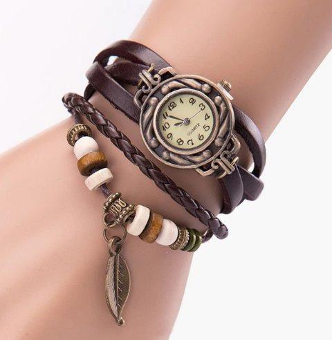Relógio Feminino Pulseira De Couro Vintage Pingente Folha