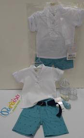 Conjunto Chique Paraiso Bebe Menino Bermuda Camisa Cod 7495