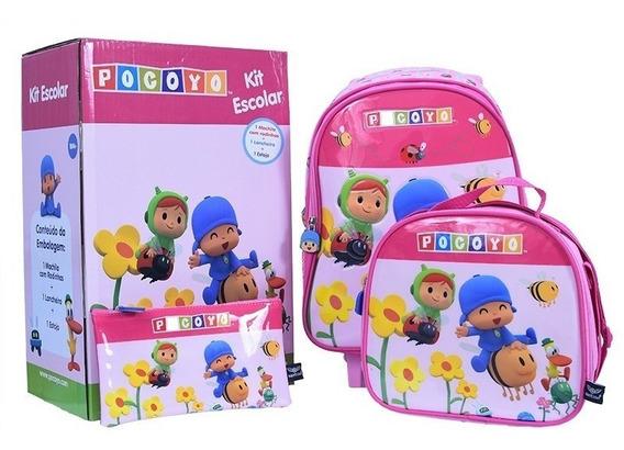 Kit Mochila Infantil Pocoyo Rosa Rodas +lancheira + Estojo P