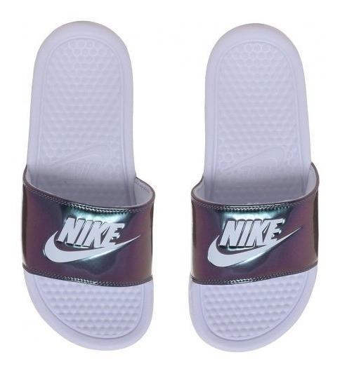 Chinelo Sandália Nike Benassi Print 618919-107 Branco