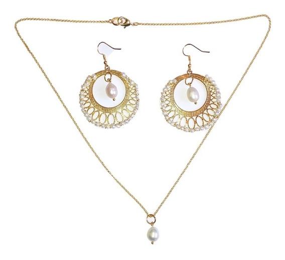 Collar Y Arrancadas En Chapa De Oro Perla Cultivada A030