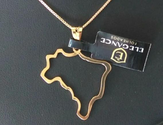 Colar, Cordão Pingente Mapa Do Brasil Folheado Ouro 18k C/cx