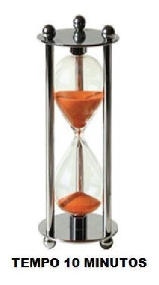 Ampulheta Metal Espelhado Vidro - Areia Colorida 10 Minutos