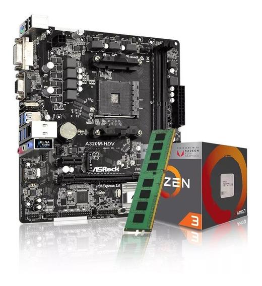 Combo Kit Actualizacion Amd Ryzen 3 3200g + A320 + 8gb Ddr4