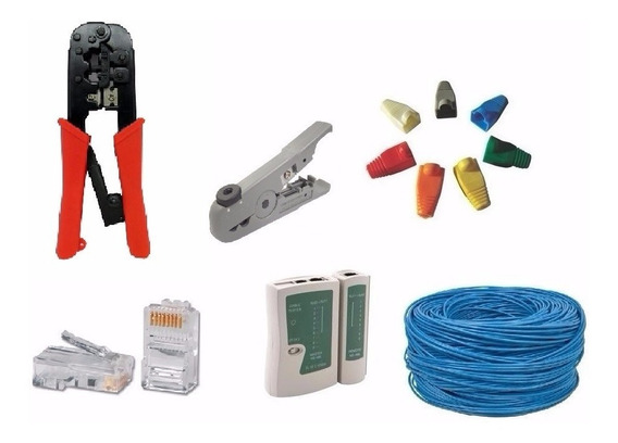 Kit Instalação Rede Com Cabos/ferramentas/conectores 305 Mts