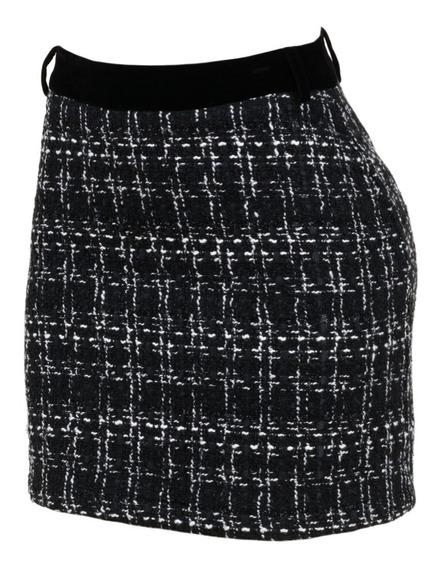 Falda Tweed Mini Entallada Ribete Terciopelo Sexy Elegante.
