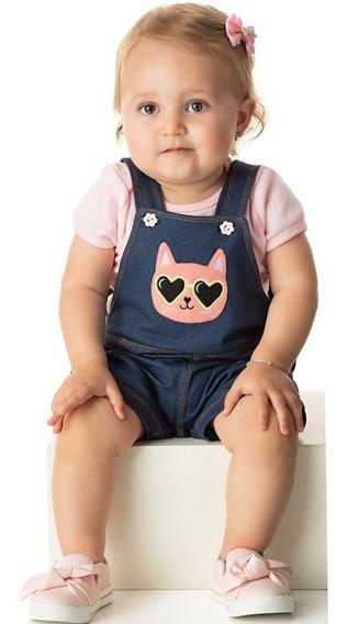 Roupa Bebê Menina Jardineira Cotton Jeans Curto Verão