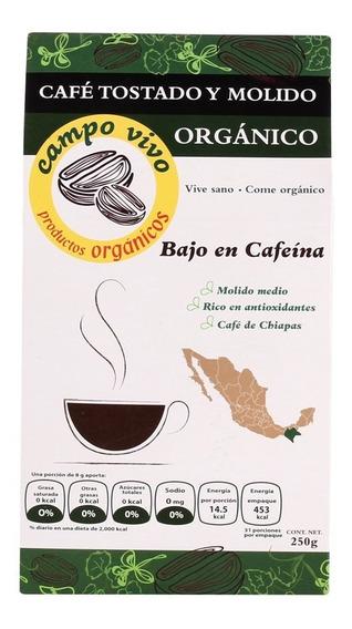 Café Bajo En Cafeína Orgánico Campo Vivo 250g