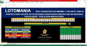 Planilha Lotomania Com 60 Dezenas 100% Garantido 19 Pontos