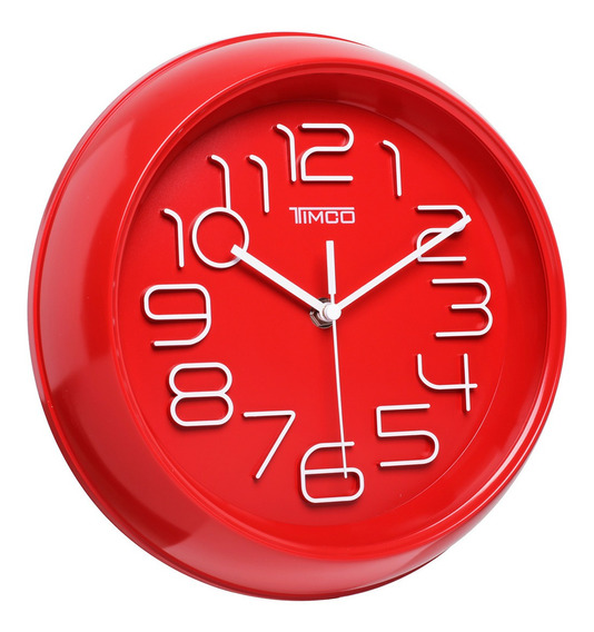 Reloj De Pared Rojo 26 Cm An-ro