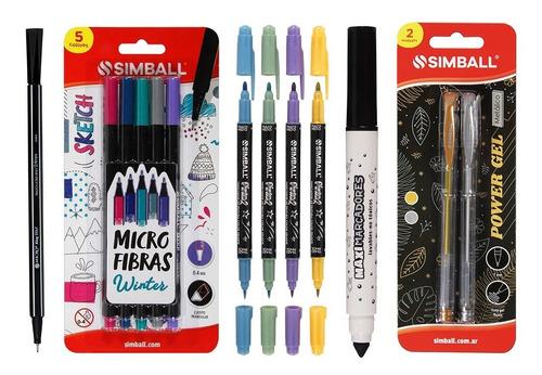 Kit Lettering: Microfibras, Pinta2, Roller Oro Plata Simball