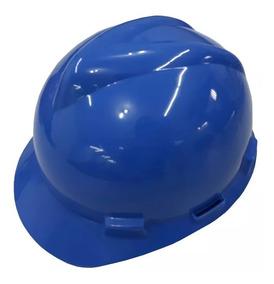 Capacete Segurança C/ Carneira Tecido Jugular Msa Azul Epi